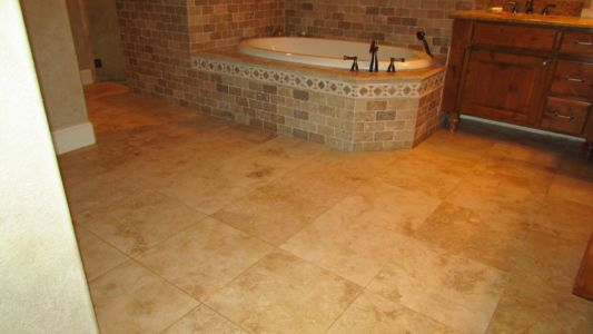Honed Travertine Bathroom Floor